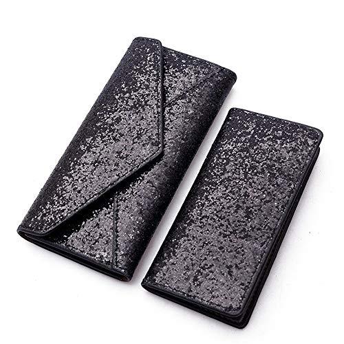 Fold Forme Banquet Set Purse Pochette Enveloppe Shinning Embrayage Black Tri Long ZwxqY18C