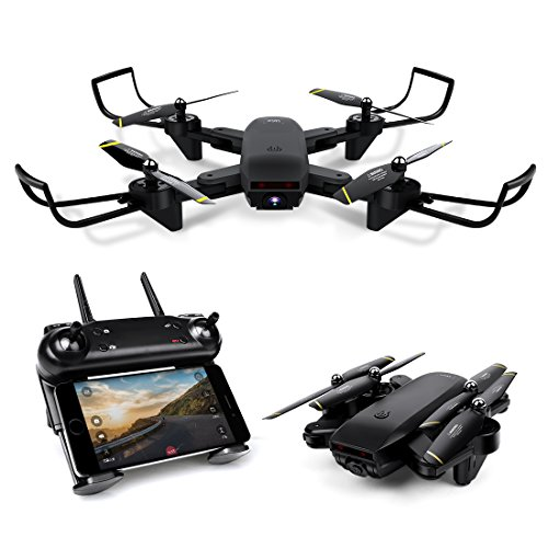 LBLA Drone with Camera,WiFi FPV Quadcopter with 720P HD Camera Live Video, Headless Mode 2.4GHz 4 CH 6 Axis Gyro Foldable RTF RC Quadcopter Black