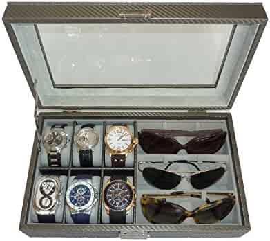 TimelyBuys 6 Piece Watch & 3 Piece Eyeglasses Carbon Fiber Box with Glass Top Lid (Pewter)