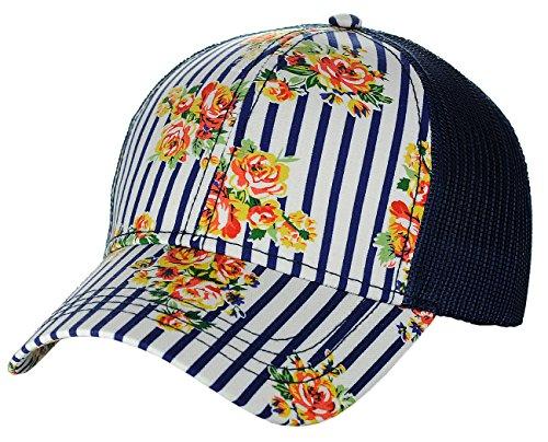 (C.C Floral Pinstripe Print Front Panel Adjustable Mesh Trucker Baseball Cap, Navy)