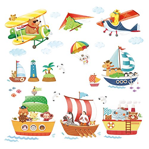 Decowall DAT-1506AC Animal Ships and Biplanes with Hang Glider Kids Wall Decals Wall Stickers Peel and Stick Removable Wall Stickers for Kids Nursery Bedroom Living Room