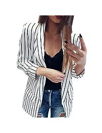 Sikye Women's Casual Coat,Ladies Long Sleeve Striped Duster Blazer Jacket Coat Pockets Side