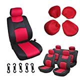 SCITOO Universal Red/Black Car Seat Cover w/Headrest 8Pcs Breathable Mesh Cloth Retractable