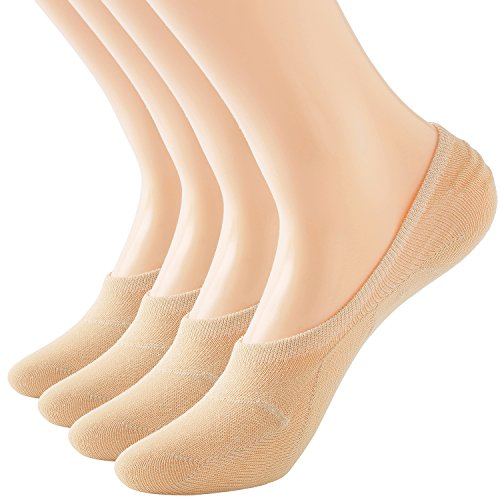 Areke Women Low Cut No Show Socks Non Slip Flat Boat Line Thin Casual Sox 4 to 10 Pack Color Nude 4Pair Size Size 8-12