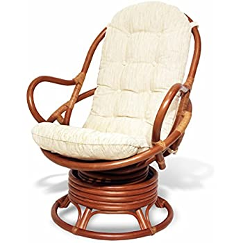java swivel rocking chair colonial with cushion handmade natural wicker rattan. Black Bedroom Furniture Sets. Home Design Ideas