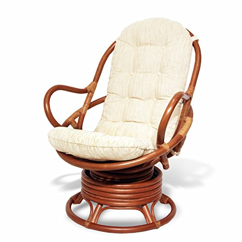 Java Swivel Rocking Chair Colonial with Cushion Handmade Natural Wicker Rattan Furniture (Bamboo Wicker Furniture)