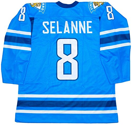 Sublimated Hockey Jersey - Teemu Selanne Finland National Blue Hockey Jersey (48 (Large))