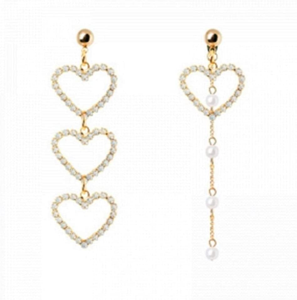 NOBRAND Pendientes de corazón de Cristal de Borla de Perlas simuladas para Mujer Pendiente asimétrico de Moda Regalo de Fiesta de Boda