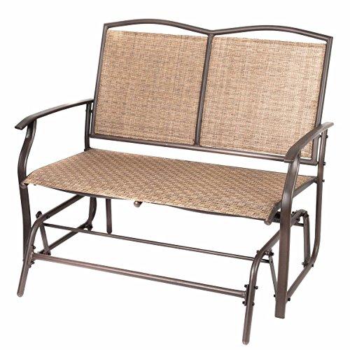 Naturefun Patio Swing Glider Bench Chair, Garden Glider Rocking Loveseat Chair, All Weatherproof, Brown