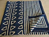 Block Print Indigo Kantha Quilt in Queen Size Kantha Blanket Kantha Bedding Queen Bedding Indian Bedspread in Floral Design 0101