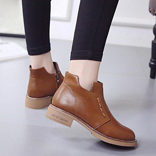 Boots Invernali Stivali Heels Cavaliere Inverno Autunno Stivali Beauty Nuovo Marrone Stivali Martin Donna Top BZZnqzU