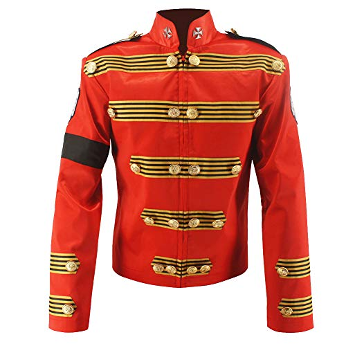 Michael Jackson Red Jacket Military Retro England Jacket Handmade (S) -
