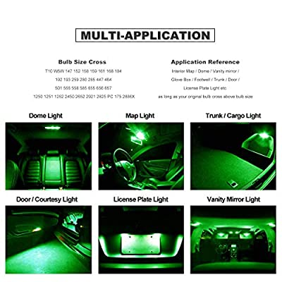 DODOFUN CANBUS T10 Extra Bright Green Color Car Interior Exterior Replacement Bulb 168 175 194 2825 W5W etc. Size Map Dome Door LED Light 12V ~ 24V Error Free (Pack of 4): Automotive