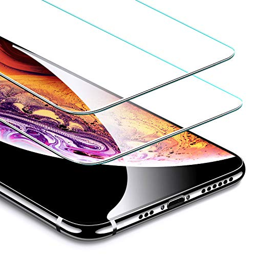 (ESR [2-Pack] Screen Protector for iPhone Xs/iPhone X, iPhone iPhone Xs/iPhone X Tempered Glass Screen Protector [Force Resistant Up to 22 Pounds] Case Friendly for iPhone 5.8 inch(2017&2018 Release))