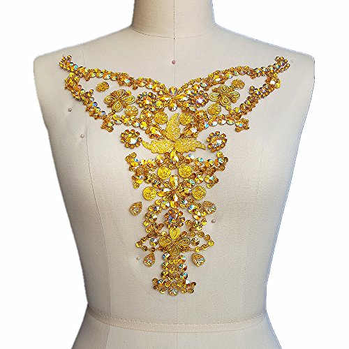 Handmade Beaded Sequin Yellow Bling Sew On Neckline Rhinestone Crystal Trim Bridal Applique Design Patch Sewing for Wedding Collar Dresses DIY Decoration 28x30cm (Yellow)