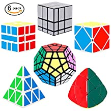 YuheBaby Set of 6 Pack Speed Cube Brain Teasers Megaminx and 3x3 Mirror Cube,Pyraminx,Skewb,Mastermorphix,Square One SQ 1-Black