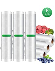 Vacuum Sealer Bags Rolls (Fits Inside Machine) - 6 Pack (20cm x 300cm & 28cm x 300cm) Heavy Duty Vacuum Food Storage Saver for Beleeb and Other Vacuum Sealer, BPA Free