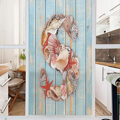 Decorative Window Film,No Glue Frosted Privacy Film,Stained Glass Door Film,Various Seashells Scallops Starfishes on Wooden Planks Nautical Decorative,for Home & Office,23.6In. by 59In Pale Blue Ivory