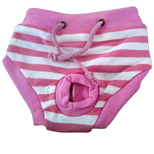 Tangpan Female Pet Dog Puppy Sanitary Pant Short Panty Striped Diaper (Pink, L)