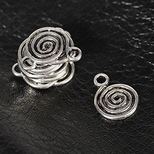10pcs Antique Spirale Charme Des Pendants- Argent