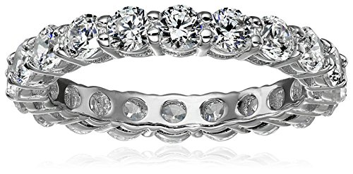 Platinum-Plated Sterling Silver All-Around Band Ring set with Round Swarovski Zirconia (2 cttw), Size 5