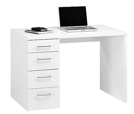 Composad Scrivania con quattro cassetti colore bianco: Amazon.it ...