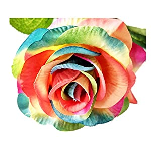 dianpo 1 Long Stem Rose Head Artificial Simulation Color Rose Flower Home Wedding Bouquet Decoration 78