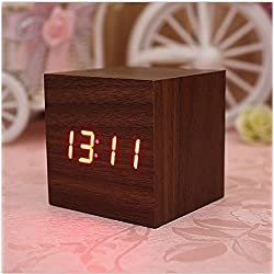 Lowpricenice Digital Square Cube Mini Brown Wood Red LED Light Alarm Clock with Time and Temperature Display & Sound Control