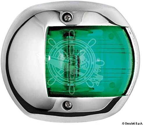 Osculati Fanale Compact 12 INOX Verde Compact 12 AISI 316//112.5/° Green Navigation Light