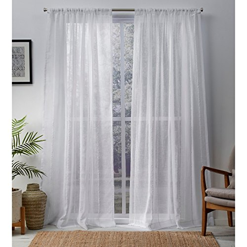 Exclusive Home Curtains Santos Embellished Stripe Textured Linen Sheer Window Curtain Panel Pair with Rod Pocket, Winter White, Winter White, 2 Piece