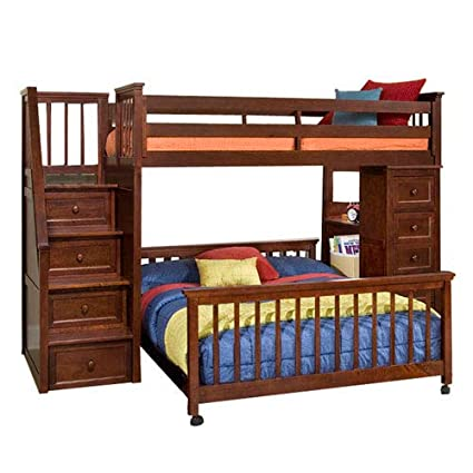 Amazon Com Ne Kids School House Stair Loft Bed With Chest End In