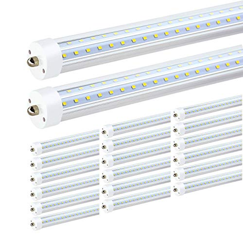 JESLED T8/T10/T12 8FT LED Tube Light, Single Pin FA8 Base, 50W 6000LM 5000K Daylight White, 270 Degree V Shaped LED Fluorescent Bulb (130W Replacement), Clear Cover, Dual-Ended Power (20-Pack) (Tube Base)