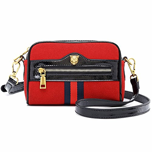 Suede Mini Bag - Beatfull Designer Mini Shoulder Bag Fashion Women Tiger Crossbody Purse Suede Shoulder Handbag Purse (Red)