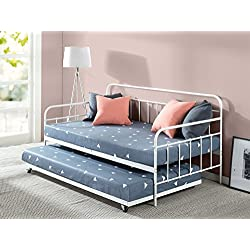 Zinus Florence Twin Daybed and Trundle Frame Set/Premium Steel Slat Support/Daybed and Roll Out Trundle Accommodate/Twin Size Mattresses Sold Separately