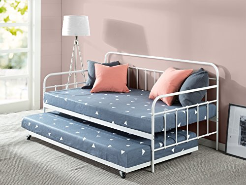 Zinus Florence Twin Daybed and Trundle Frame Set / Premium Steel Slat Support / Daybed and Roll Out Trundle Accommodate / Twin Size Mattresses Sold Separately (Frame Trundle Twin Bed)