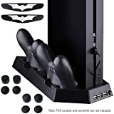 Zacro PS4 Vertical Stand Cooling Fan Dual Charging Station for Playstation 4 DualShock 4 Controllers, with Dual USB HUB Charger Ports - Dual Use with Cooling and Charging System(Not for PS4/Pro)