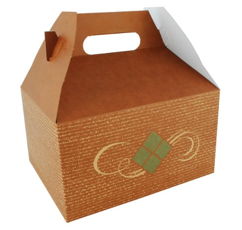 "Southern Champion Tray 27156 Clay Coated Kraft Paperboard Hearthstone Picnic Barn Style Carry Out Box, 9-1/16"" Length x 7-1/16"" Width x 5"" Height (Case of 125)"