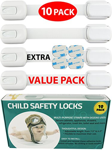 Child Safety Locks -VALUE PACK (10 Straps)- No Tools or Drilling -Adjustable Size/Flexible -Adhesive Furniture Latches For Cabinets, Drawers, Appliances, Toilet Seat, Fridge, Oven & More (White/White) by Wappa (Image #1)