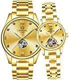 Couple Automatic Mechanical Watch Men and Women Sapphire Glass Watches Romantic for Her or His Gift Set 2 (Gold)
