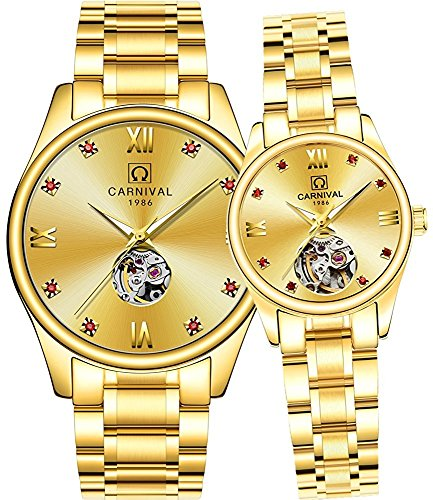 Couple Automatic Mechanical Watch Men and Women Sapphire Glass Watches Romantic for Her or His Gift Set 2 (Gold) by MASTOP