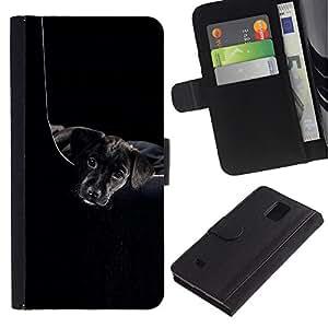 LASTONE PHONE CASE / Lujo Billetera de Cuero Caso del tirón Titular de la tarjeta Flip Carcasa Funda para Samsung Galaxy Note 4 SM-N910 / Black Puppy Plott Retriever Dog
