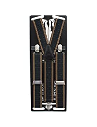 Bow Tie House Men's Striped-Dots Suspenders with Y-Shaped Adjustable Elastic 35mm