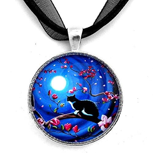 Tuxedo Cat Handmade Art Pendant Japanese Magnolia Tree Blue Moon (Black Ribbon Necklace) (Magnolia Zen)