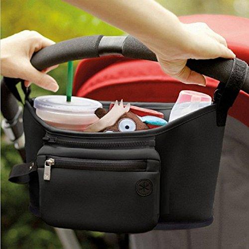 Mom Miya Baby Stroller Organizer Bag,Get A Free Stroller Hooks Black,Universal Black Baby Diaper Stroller Bag, Stroller Cup Holder, Fits Most Strollers (Black)