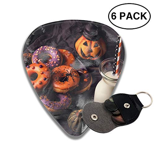 Holiday Halloween Food Doughnut Milk 3D Color Printed Guitar and Bass Pick Gift Copper -6pcs ()