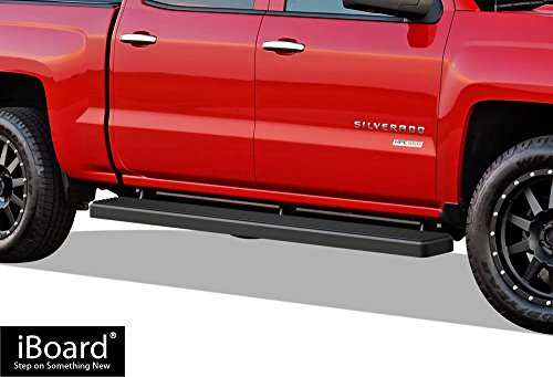 APS iBoard (Black Powder Coated 6 inches) Running Boards | Nerf Bars | Side Steps | Step Rails for 2007-2018 Chevy Silverado/GMC Sierra Crew Cab