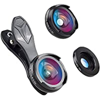 GUANZHI Camera Lens Kit (No Distortion No Dark Circle) 0.6X Super Wide Angle Lens & Macro Lens Clip on 2 in 1 Cell Phone Lens for iPhone Samsung Sony and other Smart Phones