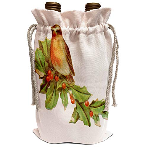 3dRose Dooni Designs Vintage Designs - Vintage Red-Breasted Robin Perched On Holly Branch - Wine Bag (wbg_104663_1) (Red Breasted Robin)