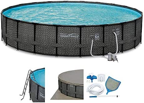 Summer Waves Elite 22ft x 52in Above Ground Frame Outdoor Swimming Pool Set