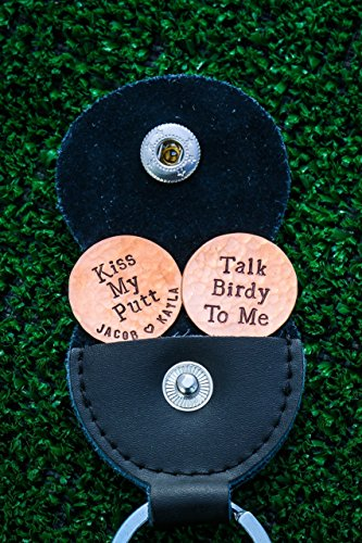 Custom Golf Ball Markers - DII ABC - Boyfriend Husband Gift - Handstamped Handmade - 7/8 Inch Silver Brass Copper Discs - Leather Carrying Case - Fast 1 Day Shipping